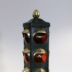 Lighted battery-operated push-button motorized drink dispenser