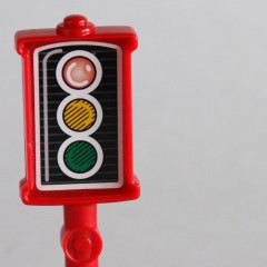 Red Fisher Price Little People plastic signal
