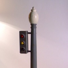 Wooden traffic signal and post, battery operated