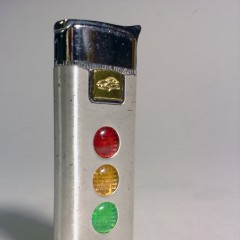 Chrome and aluminum butane lighter with working lights