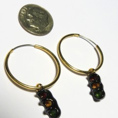 Black 3-section traffic light earirings