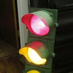 Aluminum Marbelite 19408 3-section traffic light from the 1970s
