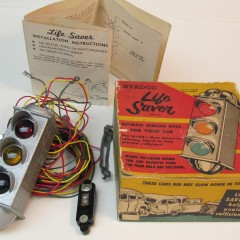 Stadco Life Saver vehicle speed indicator for car rear window, 1951, with box and instructions