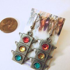 Pewter dangilng earrings with red, yellow, and green acrylic crystals