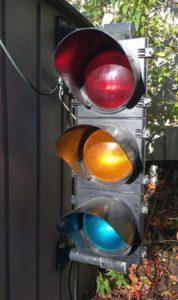 "photo of ""sun phantom"" effect on a traffic light"