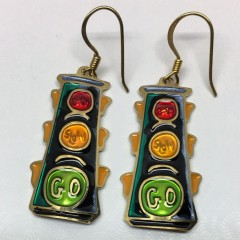 Flat 2 dimensional 4-way traffic light earrings from Two-Hands