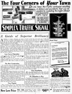 A 1927 dvertisement for the Darley Simplex traffic signal