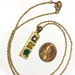 Gold tone traffic light necklace